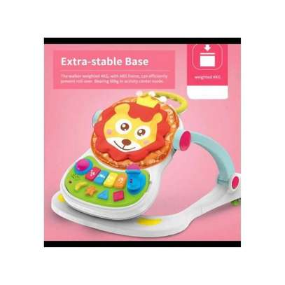 multifunctional musical lion four in one baby walker- white image 3
