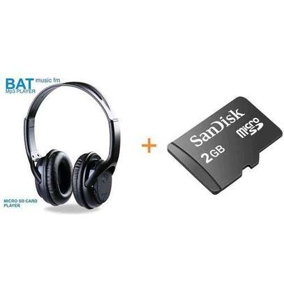 BAT Music SD Card Headphones FM & 2Gb Sd CardBrand image 1