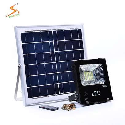 Solar Flood LED Light, 30W, Outdoor Security Lighting, Remote Control image 1