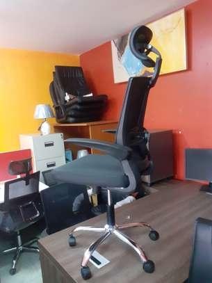 Executive Orthopedic Mesh Chairs With Tilt Mechanism, Adjustable Headrest & Foldable Arms image 4