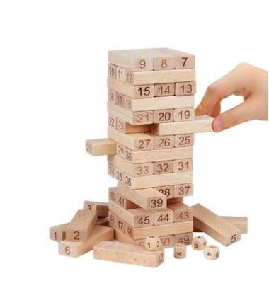 Wooden Jenga Yard Pull And Stack Tower Game image 1