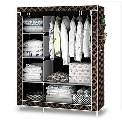 2 Column Portable Wardrobe - Black And Gold