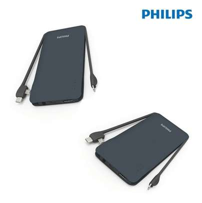Philips Portable 10000mah Powerbank With Built In 3in1 Lightning & Micro Usb & Type-C, 3 Usb Output Lithium Polymer Powerbank image 3