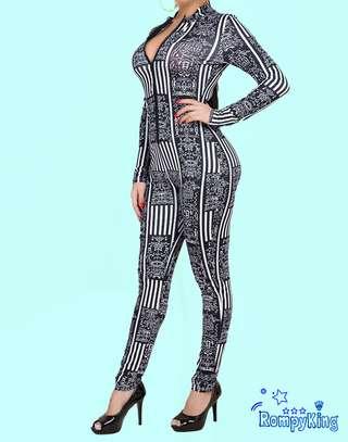 Fashion RK Black Round Neck Zip-up Stretch-African Jumpsuits image 4
