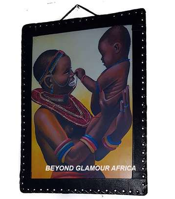 Leather trim painting of African Mother and child