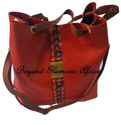 Ladies Red Leather Handbag With Ankara Strip image 1