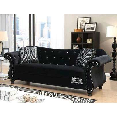 Seven seater sofas/three seater sofa/ two seater sofa/one seater sofa/modern sofas/black chesterfield sofas image 1