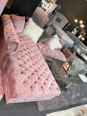 Six seater pink Chesterfield sofas for sale in Nairobi Kenya/Classic L shaped sofas for sale in Nairobi Kenya image 1