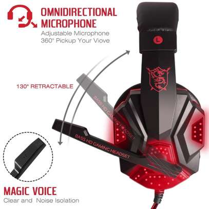 Plextone Gaming Headset for PS4 X Box PC GAMING  Noise Isolation Gaming Headphones  With hd mic and led - Black and red) image 5