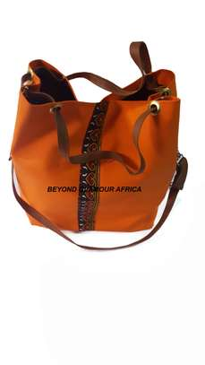 Orange Ankara Leather Bag image 1