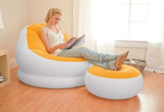 Intex Inflatable Seat (orange & white) With Footrest