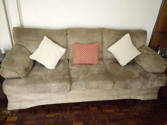 6 seater brown suede sofa set image 2