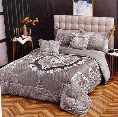 velvet woolen duvet grey prints 6 by 6 image 1