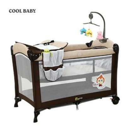 Brown Baby Cot Playpen Baby Crib With Changing Station And Toys image 1