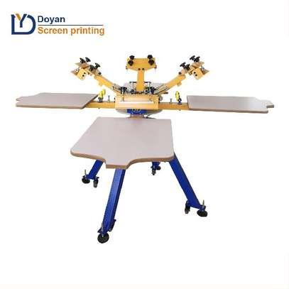 4 color 4 station rotary t-shirt printing machine image 1
