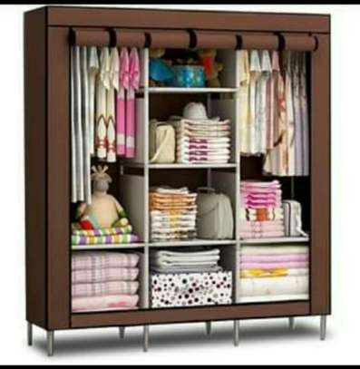 Portable wooden frame wardrobe image 1