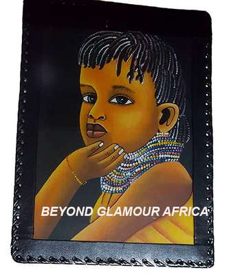 Leather Trim Painting African Child