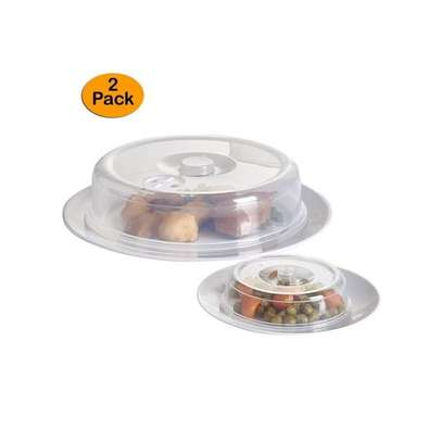 Set of 2 Ventilated Microwave Plate Covers – Microwave Food Covers (+ Free Gift Hand Towel). image 2