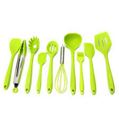 10 Pieces Silicon Cooing Spoon Set GREEN image 1