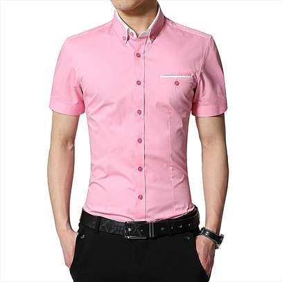 Formal Casual Plain Top T Shirts-Pink image 1