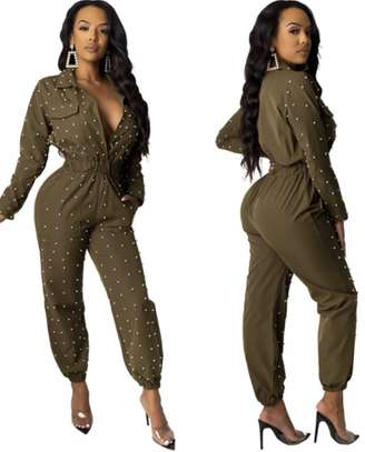 Dark Green Long Sleeves Beaded Jumpsuit Sizes M L XL 2XL.