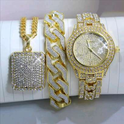 Iced Out Gold Watch+ Iced Out square pendant chain+Iced out Bracelet image 2