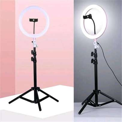 Ringlight with Tripod Stand and Phone Holder Compatible with all phones image 1