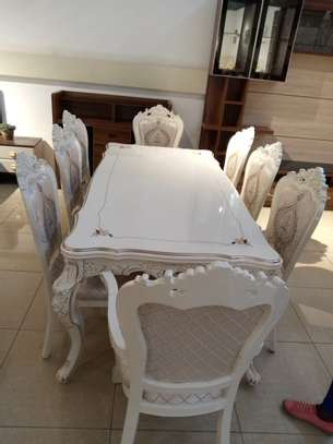 Decorated Glass 8 Seater Dining Table image 2