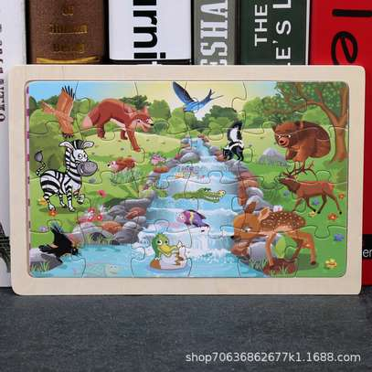 4PCS/3D Wooden Jigsaw Puzzles for Children Kids Toys Cartoon Animal/Traffic Puzzles Baby Educational Puzles image 12