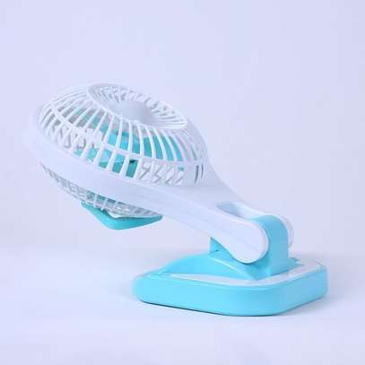 Generic Mini Portable Fan with LED light Rechargeable- green,pink,blue image 1