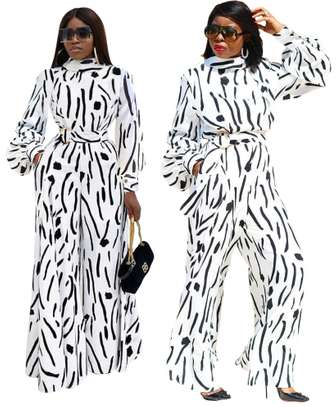 White and Black Print Formal Jumpsuit with Belt  Sizes M L Xl 2XL