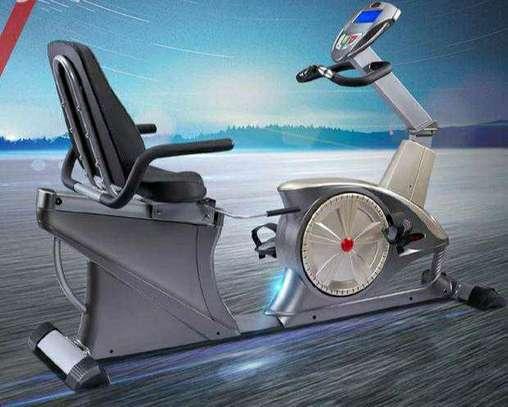 Recumbent spinning exercise bike image 1