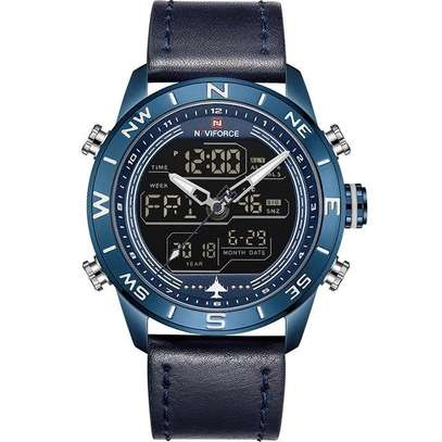 NAVIFORCE  NF 9144 Luxury Brand Leather Army Military Watch Men's Fashion Sport Watches Analog Digital Clock