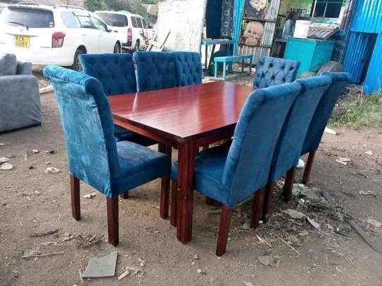 Tufted mahogany dining table set image 1