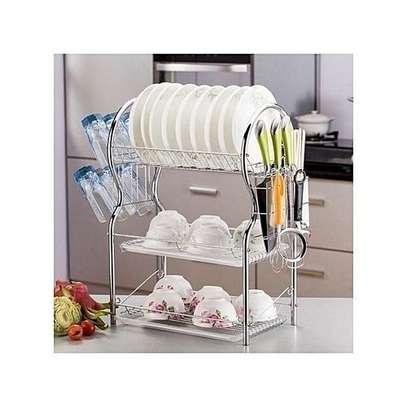 3 Layer Tier Stainless Steel Dish Drainer Drying Rack image 1