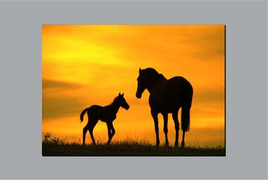 Horse & Yearling Wall Hanging Art image 1