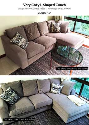 Couch, Coffee Table, Rug, and Drying Rack