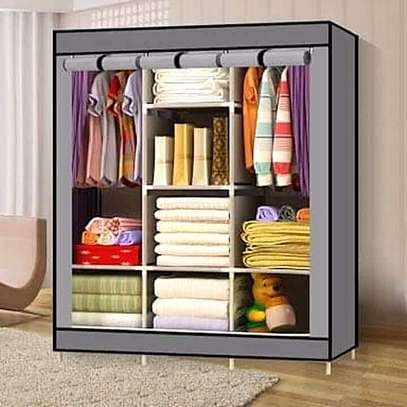 3 COLUMN SOLID WOOD PORTABLE WARDROBE