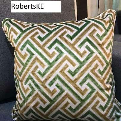 Green prints throw pillow image 1
