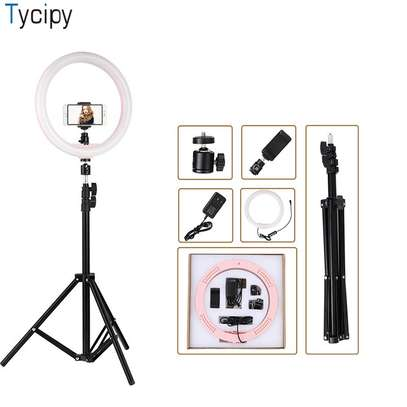 12″ LED Ring Light 24W Photo Studio Light Photography Dimmable Video for Smartphone with Tripod Phone Holder image 1