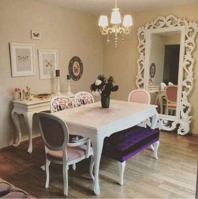 Six seater chester dining sets/modern purple dining sets image 1