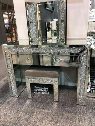 Diamond crystal dressing table with mirror/mirrored dressing table/modern dressing mirror image 1