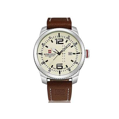 Naviforce brown leather straps mens watch