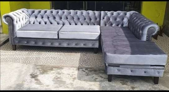 Grey L-shaped Chesterfield 7 seater image 1