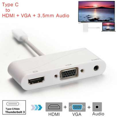 Type C To HDMI VGA 3.5MM Audio Adapter 3 In 1 USB 3.1 USB C Converter image 3