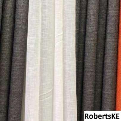 Plain Dark grey linen curtain image 1