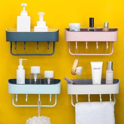 Bathroom shelf with towel hanger and hooks image 1