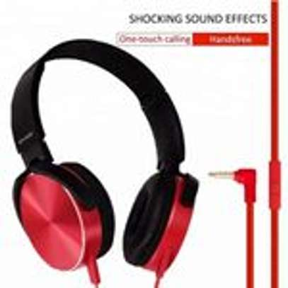 Super Bass Wired Headphones with Bass Booster-Red image 4
