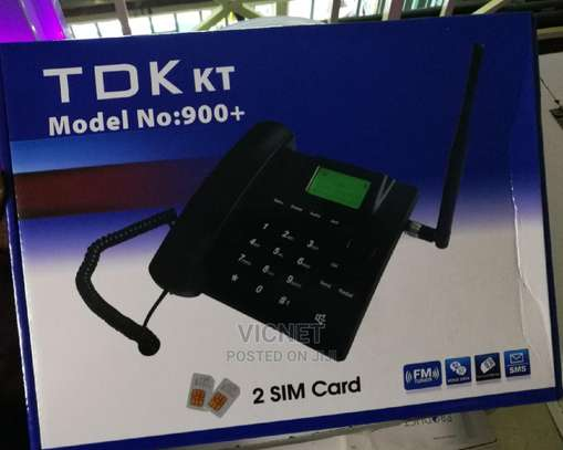 Twin Simcard Fm Desktop Phone With Rechargeable Battery image 1