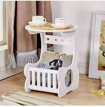 Multi-purpose bedside/balcony/magazine holder/coffee/living room white round table image 3